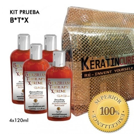 TopCabello - Keratine Cure BTX Brazilian Therapy Xtreme Kit Prueba 120 ml - Tratamiento 4 Productos