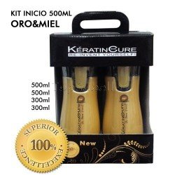 Keratin Cure Oro Miel Kit 500ml + 300ml - Tratamiento 4 Prod