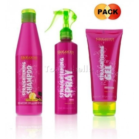 Pack Straightening Salerm (Champú alisado 250+ Spray alisado 250+ Gel peinado liso 200)