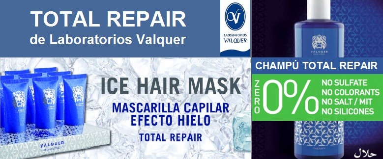 Champu ZERO 0% y Mascarilla ICE HAIR MASK - TOTAL REPAIR de Laboratorios Valquer
