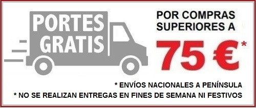 Envios gratis a partir de 75 Euros envíos a Península